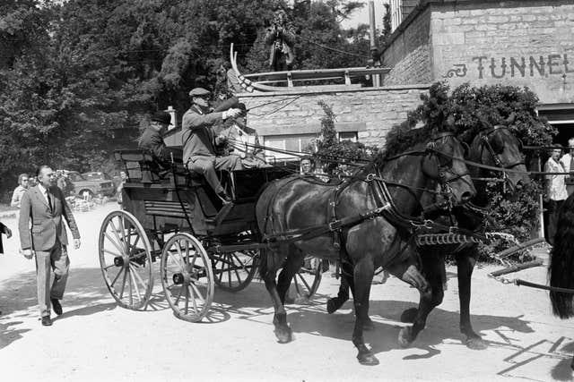 The Duke of Edinburgh driving his carriage at Cirencester Park during the Gieves Carriage Driving Championship in which he was competing
