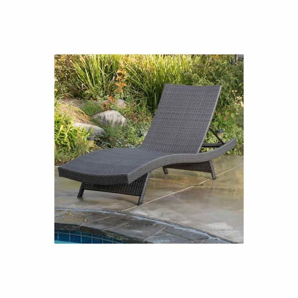 """<p><strong>Sol 72 Outdoor</strong></p><p>wayfair.com</p><p><strong>$299.99</strong></p><p><a href=""""https://go.redirectingat.com?id=74968X1596630&url=https%3A%2F%2Fwww.wayfair.com%2Foutdoor%2Fpdp%2Fsol-72-outdoor-rebello-reclining-chaise-lounge-w000583650.html&sref=https%3A%2F%2Fwww.oprahdaily.com%2Flife%2Fg36661332%2Fbest-pool-lounge-chair%2F"""" rel=""""nofollow noopener"""" target=""""_blank"""" data-ylk=""""slk:SHOP NOW"""" class=""""link rapid-noclick-resp"""">SHOP NOW</a></p><p>This chaise, in a durable wicker weave, features five adjustable reclining positions so you'll always get that position just right.</p>"""