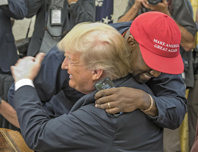 Kanye West embraces President Trump in the White House's Oval Office on Oct.11, 2018. (Photo: Ron Sachs/Consolidated News Pictures/Getty Images)