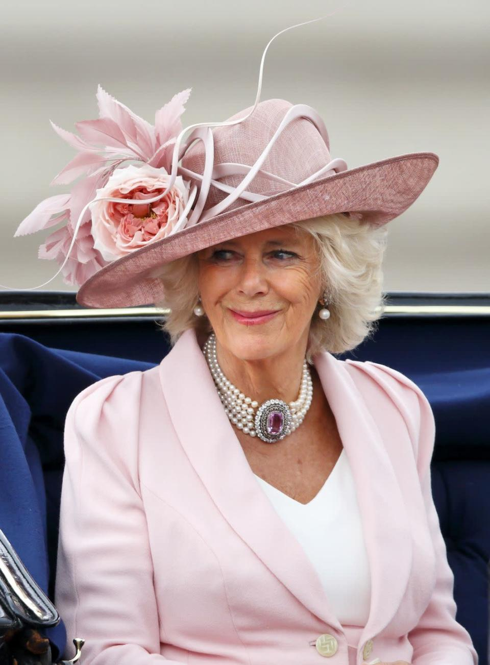 <p>Camilla, Duchess of Cornwall, brought the drama with a dynamic pink hat and matching suit for Trooping the Colour in 2014. </p>