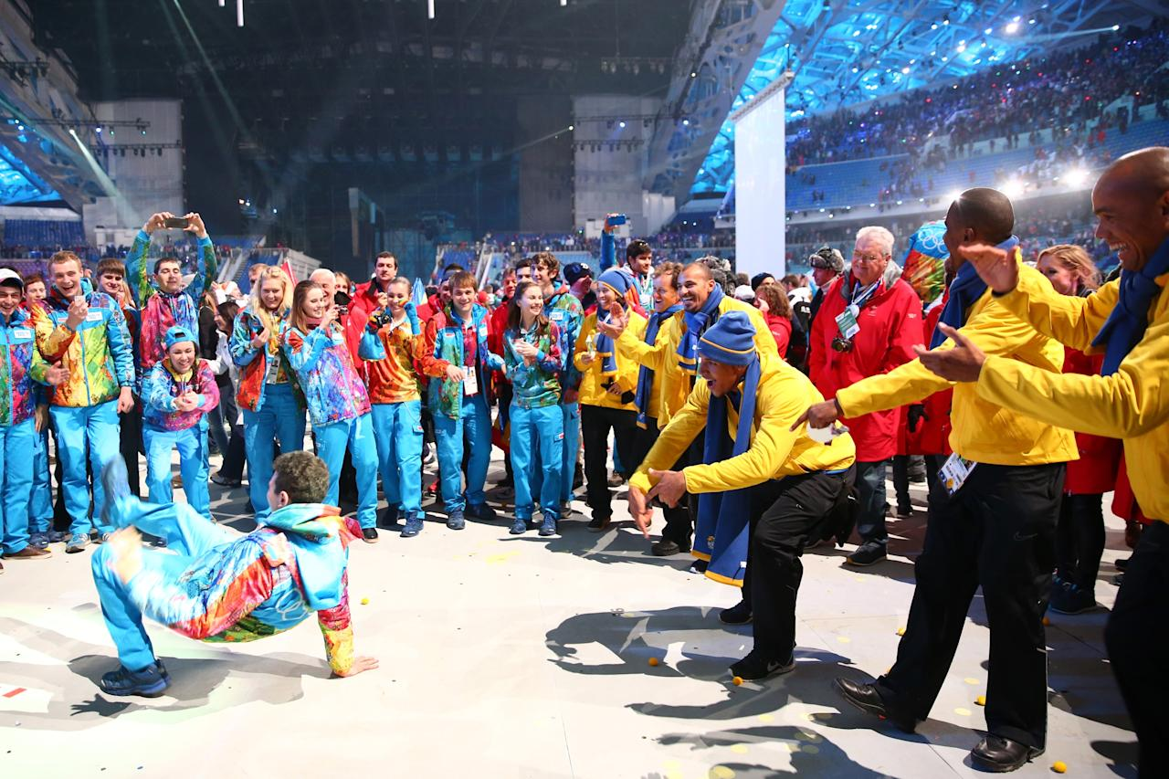 SOCHI, RUSSIA - FEBRUARY 23: Athletes dance at the closing party after the 2014 Sochi Winter Olympics Closing Ceremony at Fisht Olympic Stadium on February 23, 2014 in Sochi, Russia. (Photo by Ryan Pierse/Getty Images)
