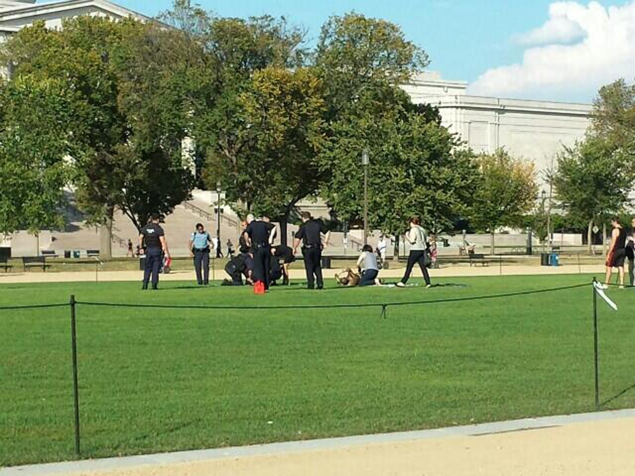 First responders and people assist a man who apparently set himself on fire at the National Mall in Washington in this October 4, 2013 handout photo by Vanessa Sink. The man was rushed to a local hospital, officials said, and was conscious and breathing when he was taken to the hospital. REUTERS/Vanessa Sink/Handout via Reuters (UNITED STATES - Tags: CIVIL UNREST HEALTH SOCIETY) 