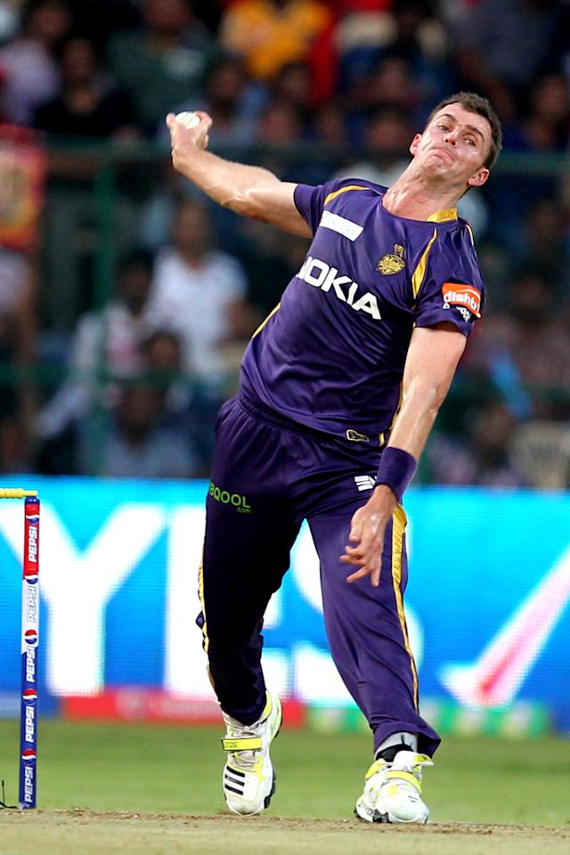 Ryan McLaren bowls during match 12 of the Pepsi Indian Premier League between The Royal Challengers Bangalore and The Kolkata Knight Riders  held at the M. Chinnaswamy Stadium, Bengaluru  on the 11th April 2013Photo by Prashant Bhoot-IPL-SPORTZPICS Use of this image is subject to the terms and conditions as outlined by the BCCI. These terms can be found by following this link:https://ec.yimg.com/ec?url=http%3a%2f%2fwww.sportzpics.co.za%2fimage%2fI0000SoRagM2cIEc&t=1495913751&sig=JYGNU6RmVW57irwqfgypJQ--~C