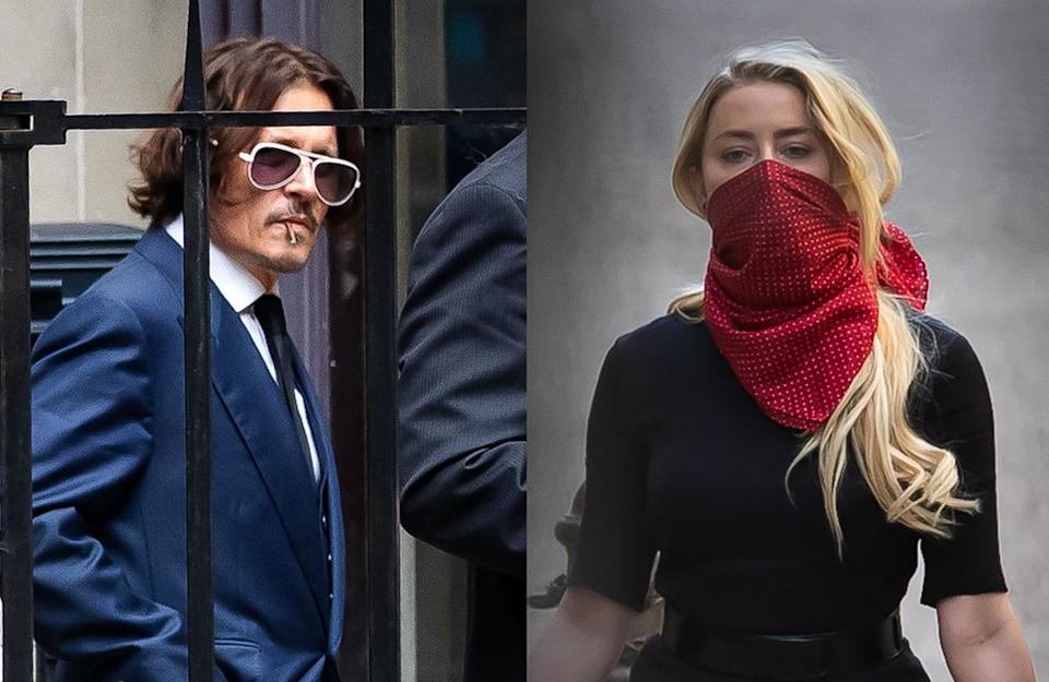 Johnny Depp and Amber Heard arrive at court in London for his libel trial against the Sun.