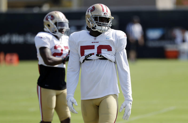 San Francisco 49ers linebacker Reuben Foster was carted off with an ankle injury in his debut. (AP)