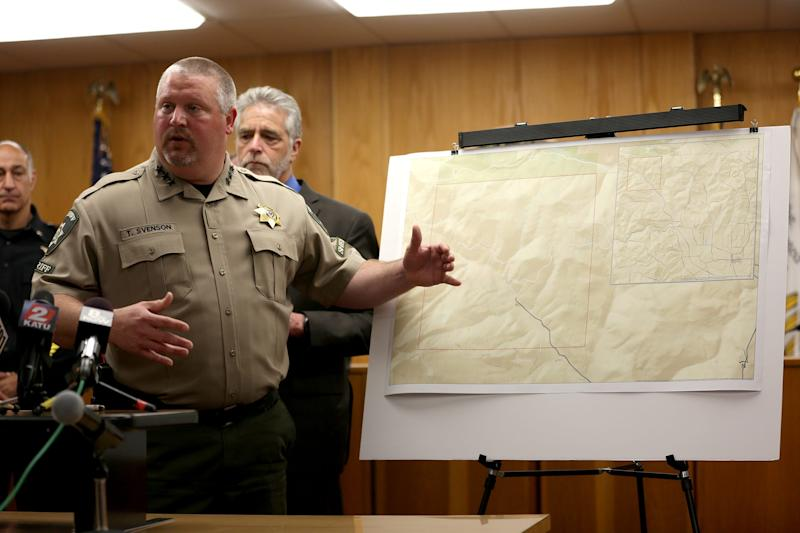 Yamhill County Sherriff Tim Svenson goes over a map where the bodies of Karissa Fretwell and William Fretwell were found in McMinnville on June 17, 2019. Their bodies were found on Saturday.