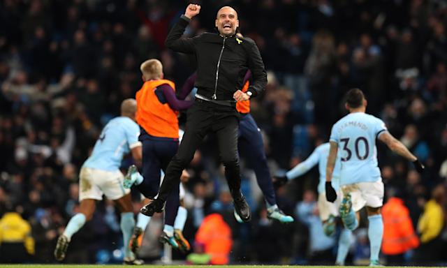 Pep Guardiola, here celebrating Manchester City's late win over Southampton in November, seems likely to spend a minimum of five years at the club.