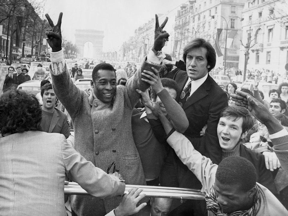 """<span class=""""caption"""">A new documentary explores the life of Brazilian legendary soccer player, Pelé against the backdrop of the country's politics. But the doc fails to ask the right questions about race and class. Here Pelé is shown in 1971, in Paris.</span> <span class=""""attribution""""><span class=""""source"""">(AP Photo/Levy)</span></span>"""