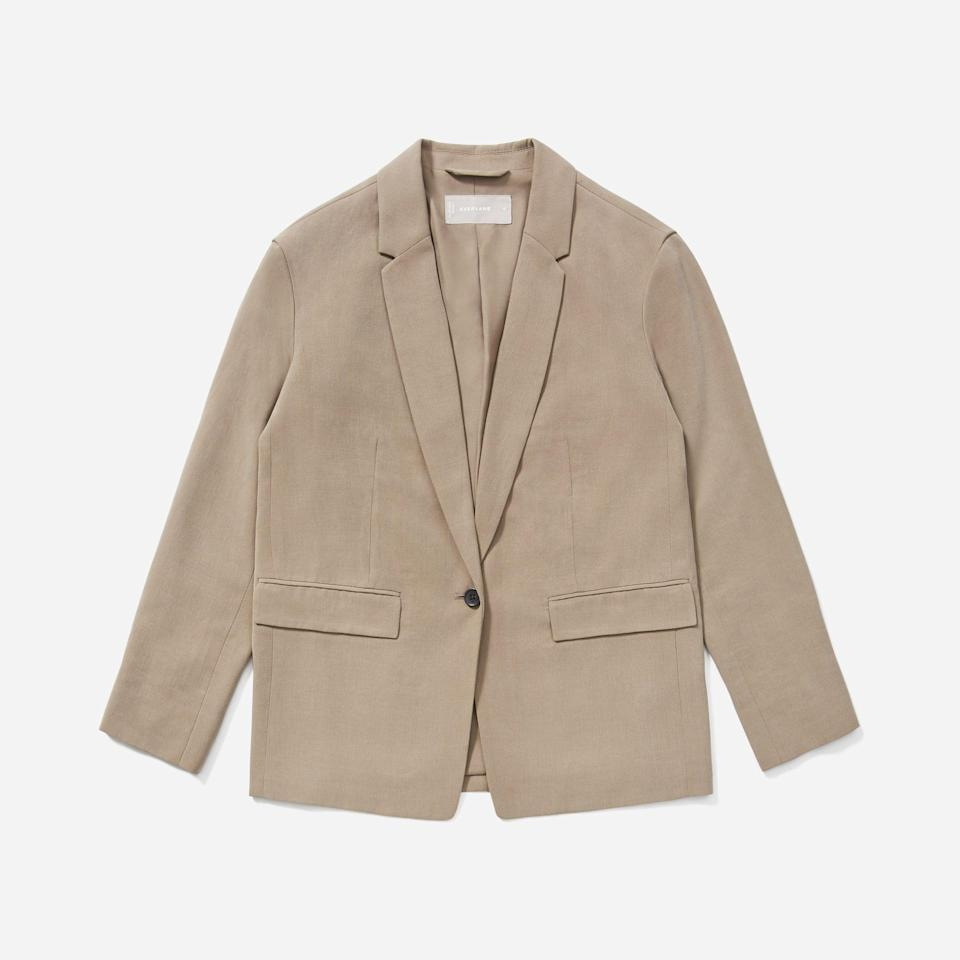 """<p><strong>Everlane</strong></p><p>everlane.com</p><p><a href=""""https://go.redirectingat.com?id=74968X1596630&url=https%3A%2F%2Fwww.everlane.com%2Fproducts%2Fwomens-drape-blazer-clay&sref=https%3A%2F%2Fwww.seventeen.com%2Ffashion%2Fg37090791%2Feverlane-summer-sale-best-items%2F"""" rel=""""nofollow noopener"""" target=""""_blank"""" data-ylk=""""slk:Shop Now"""" class=""""link rapid-noclick-resp"""">Shop Now</a></p><p><strong><del>$128</del> $102</strong></p><p>Two words guaranteed to solve an outfit rut? Oversized. Blazer. </p>"""