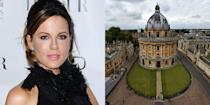 """<p><strong>Oxford University</strong></p><p>Beckinsale landed her first major film roles while studying French and Russian literature as a student at Oxford University. According to a former classmate, <a href=""""https://www.theguardian.com/film/2005/jan/09/features.review"""" rel=""""nofollow noopener"""" target=""""_blank"""" data-ylk=""""slk:journalist Victoria Coren"""" class=""""link rapid-noclick-resp"""">journalist Victoria Coren</a>, the actress was """"whip-clever, slightly nuts, and very charming,"""" during her time at University. Beckinsale dropped out before her final year as her acting career was picking up, though the actress has recently voiced her desire to <a href=""""https://www.peoplemagazine.co.za/celebrity-news/international-celebrities/kate-beckinsale-keen-to-finish-her-degree/"""" rel=""""nofollow noopener"""" target=""""_blank"""" data-ylk=""""slk:finish her degree"""" class=""""link rapid-noclick-resp"""">finish her degree</a>. </p>"""