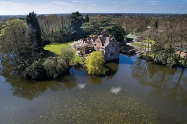 Aerial view of the moated manor