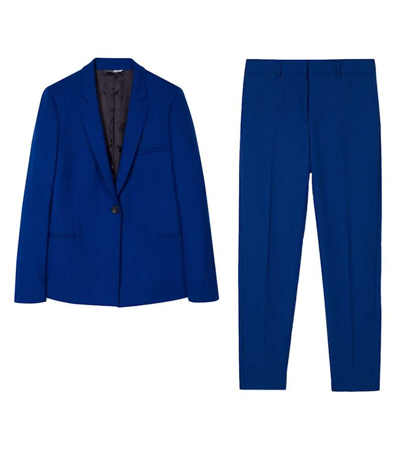 "<p>Paul Smith Women's Blue Merino Wool Blazer, $625, <a rel=""nofollow"" href=""http://www.paulsmith.co.uk/us-en/shop/women-s-blue-merino-wool-blazer.html"">paulsmith.co.uk</a> Paul Smith Women's Blue Merino Wool Trousers, $375, <a rel=""nofollow"" href=""http://www.paulsmith.co.uk/us-en/shop/women-s-blue-merino-wool-trousers.html"">paulsmith.co.uk</a> </p>"