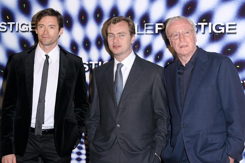 FRANCE - NOVEMBER 08: Hugh Jackman Christopher Nolan and Michael Caine in Paris, France on November 08, 2006. (Photo by Frederic SOULOY/Gamma-Rapho via Getty Images)