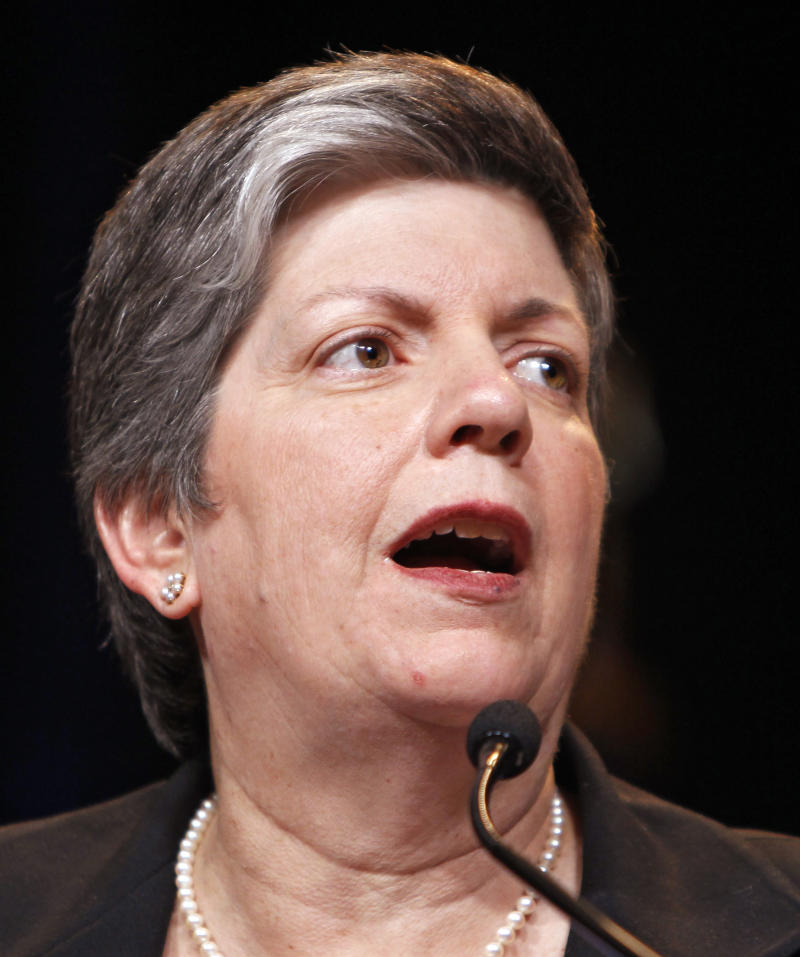 FILE - In this March 15, 2011 file photo, Homeland Security Secretary Janet Napolitano addresses the National Fusion Center Conference in Denver.   The Homeland Security Department demoted a senior career employee who confidentially complained to the inspector general that political appointees were improperly interfering with requests for federal records by journalists and watchdog groups.  (AP Photo)