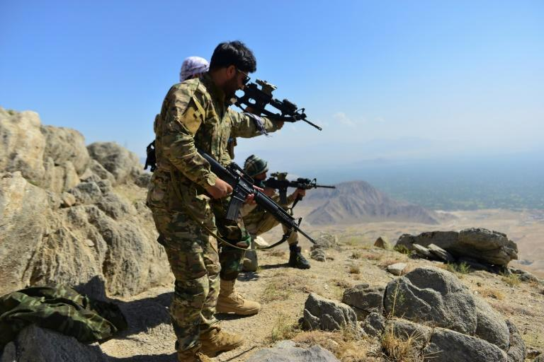 The NRF includes local fighters loyal to Ahmad Massoud as well as remnants of the Afghan military that retreated to the Panjshir Valley (AFP/Ahmad SAHEL ARMAN)