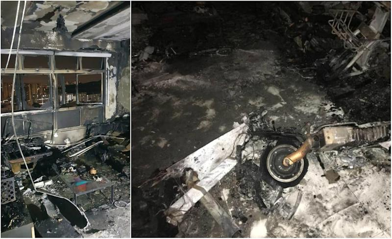 A fire broke out in a 26th-floor unit at Block 293D, Bukit Batok St 21 on the morning of 18 July, 2019. (PHOTOS: SCDF, Murali Pillai/Facebook)