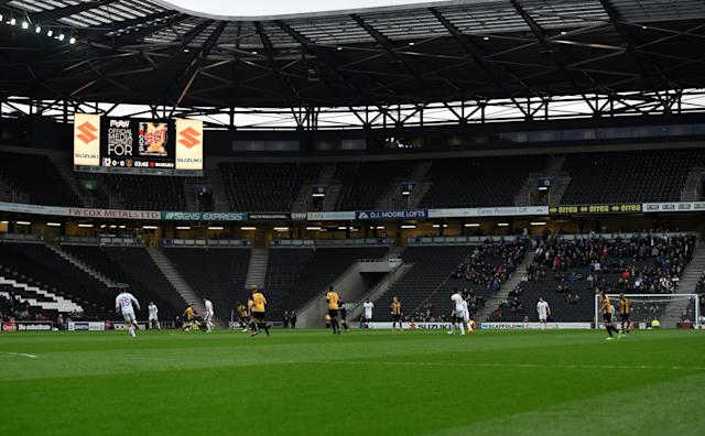 Soccer Football - FA Cup Second Round - Milton Keynes Dons vs Maidstone United - Stadium MK, Milton Keynes, Britain - December 2, 2017 General view of empty seats in the stadium during the match Action Images/Adam Holt