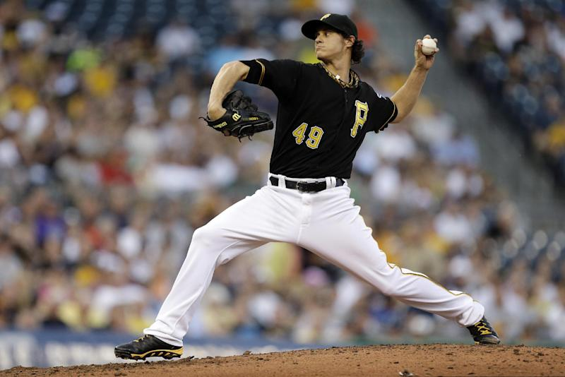 Pittsburgh Pirates starting pitcher Jeff Locke (49) delivers during the fourth inning of a baseball game against the Detroit Tigers in Pittsburgh, Thursday, May 30, 2013. (AP Photo/Gene J. Puskar)
