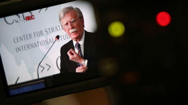 PHOTO: White House former National Security Advisor John Bolton is seen in video camera's screen as he delivers remarks on North Korea at the Center for Strategic and International Studies (CSIS) think tank in Washington, U.S. September 30, 2019. (Jonathan Ernst/Reuters)