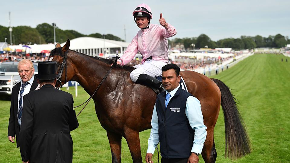 Anthony Van Dyck is seen here after winning the Epsom Derby.