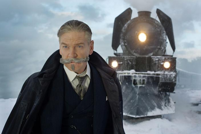 "Kenneth Branagh as Hercule Poirot in ""Murder on the Orient Express."""