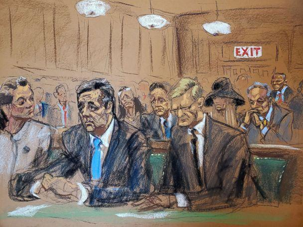 PHOTO: Michael Cohen, 52, President Donald Trump's former personal lawyer, attends his sentencing hearing with attorneys Amy Lester, left, and Guy Petrillo in this courtroom sketch in New York, Dec. 12, 2018. (Jane Rosenberg/Reuters)
