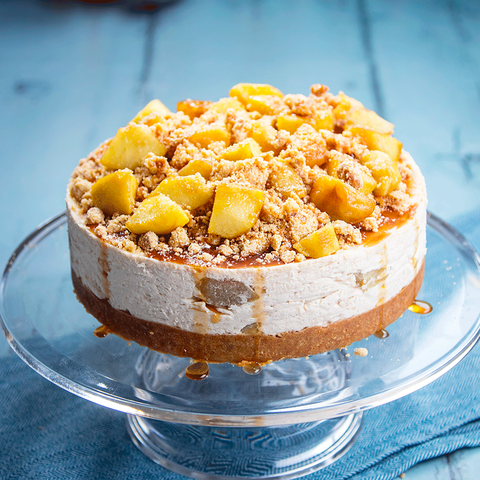"""<p>The humble crumble gets a glamorous makeover! This incredible apple cheesecake recipe requires a bit of effort, but all the elements can be prepared ahead and assembled quickly to make a showstopping dessert.</p><p><strong>Recipe: <a href=""""https://www.goodhousekeeping.com/uk/food/recipes/a578146/apple-crumble-cheesecake/"""" rel=""""nofollow noopener"""" target=""""_blank"""" data-ylk=""""slk:Apple crumble cheesecake"""" class=""""link rapid-noclick-resp"""">Apple crumble cheesecake</a></strong></p>"""