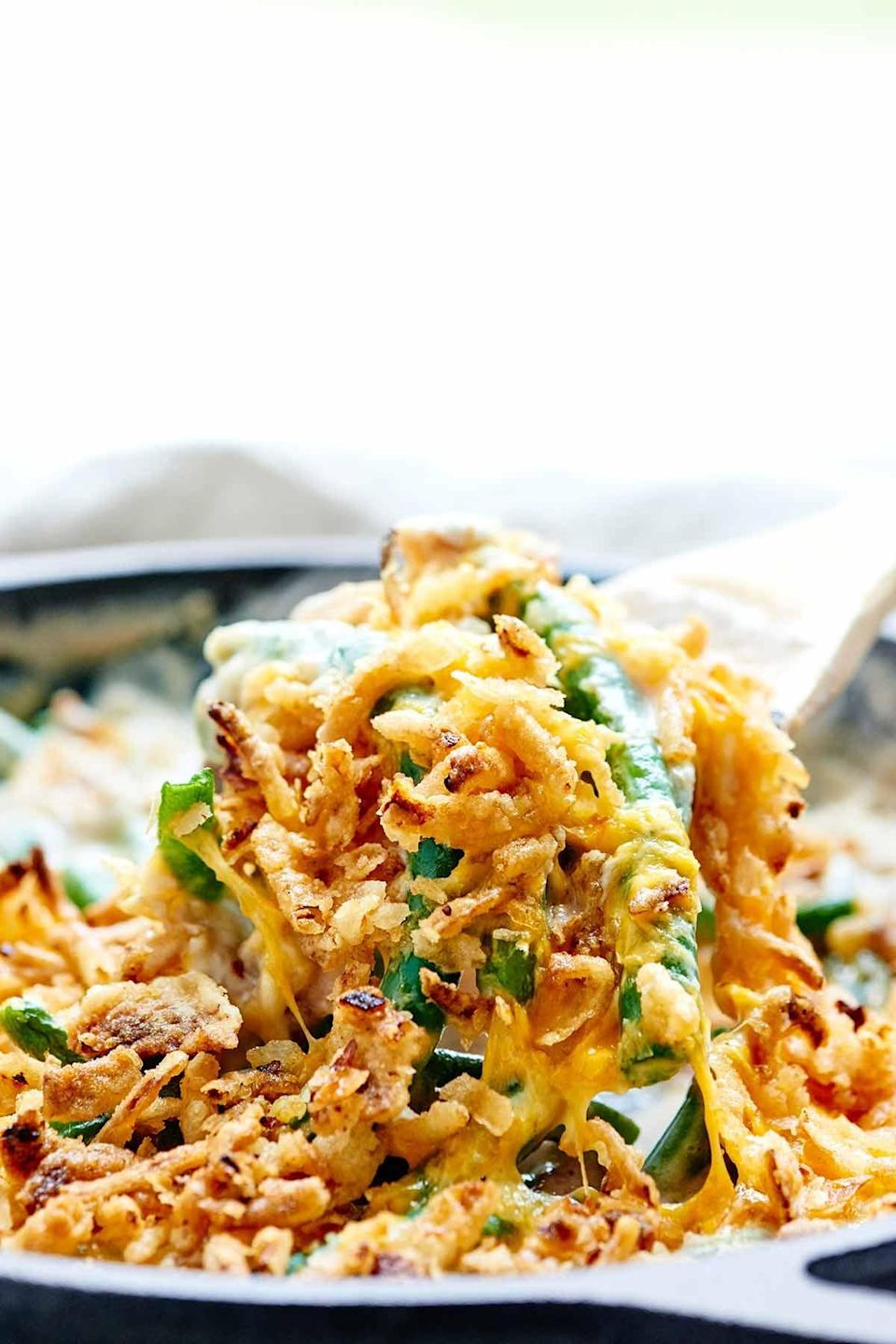 """<p>With just 11 ingredients, this casserole recipe is one to remember. Every forkful offers creamy beans, crunchy flakes, and drool-worthy flavor. Yes, please.</p> <p><strong>Get the recipe</strong>: <a href=""""https://showmetheyummy.com/green-bean-casserole-recipe/"""" class=""""link rapid-noclick-resp"""" rel=""""nofollow noopener"""" target=""""_blank"""" data-ylk=""""slk:one-pot green bean casserole"""">one-pot green bean casserole</a></p>"""