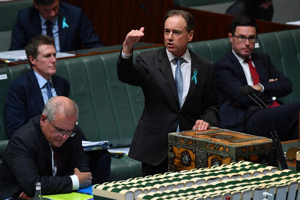 Minister for Health Greg Hunt during Question Time in the House of Representatives at Parliament House in Canberra, Australia.
