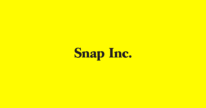 """""""Snap Inc"""" on a yellow background"""