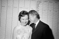 FILE - In this Sept. 15, 1966 file photo, then Georgia State Sen. Jimmy Carter hugs his wife, Rosalynn, at his Atlanta campaign headquarters. Jimmy Carter and his wife Rosalynn celebrate their 75th anniversary this week on Thursday, July 7, 2021. (AP Photo/File)