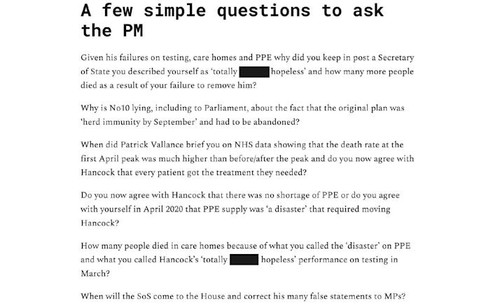 'Questions to ask the Prime Minister'