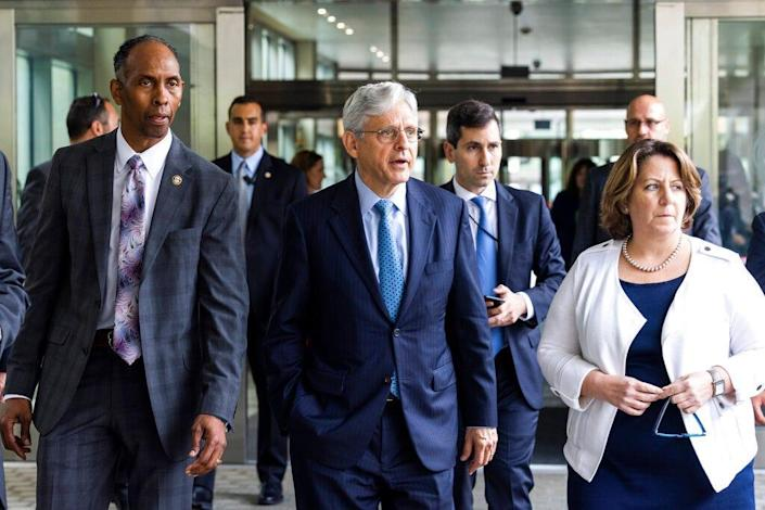 Attorney General Merrick Garland, center, along with Deputy Attorney General Lisa Monaco, right, and Acting Alcohol, Tobacco and Firearms (ATF) Director Marvin G. Richardson, left, leaves the Bureau of Alcohol, Tobacco and Firearms headquarters in Washington, Thursday, July, 22 2021.