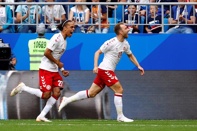 Soccer Football - World Cup - Group C - Denmark vs Australia - Samara Arena, Samara, Russia - June 21, 2018 Denmark's Christian Eriksen scores their first goal with Yussuf Poulsen REUTERS/Michael Dalder
