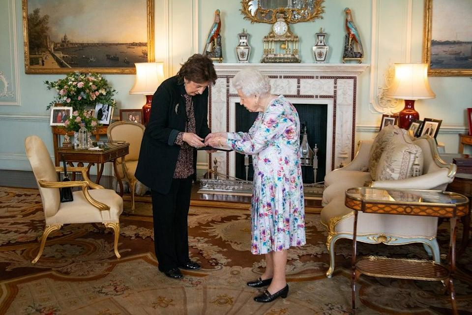 Dame Imogen Cooper is received by the Queen at Buckingham Palace (Aaron Chown/PA) (PA Wire)