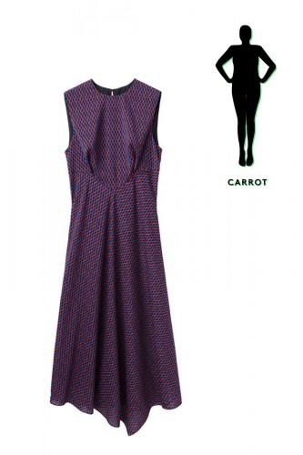 """<div class=""""caption-credit""""> Photo by: La Garçonne</div><div class=""""caption-title""""></div><b>The Carrot -</b> The trick to dressing your shape is thinking in contrasts. Since your legs are the most slender part of your body, this midi-length, flowing number will drape perfect over your gams. And, the fitted bodice will look killer on top, too. <br> <br> <i><b>Rachel Comey</b> Mora Dress, $472, available at <a rel=""""nofollow"""" href=""""http://www.lagarconne.com/store/item.htm?itemid=20729&sid=24&pid="""">La Garçonne</a> .</i>"""
