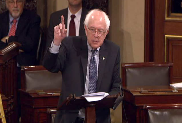 This video frame grab image provided by Senate Television shows Sen. Bernard Sanders, I-Vt., speaking on the floor of the Senate on Capitol Hill in Washington, Friday, Dec. 10, 2010. (AP Photo/Senate Television)