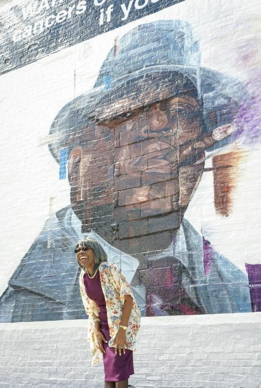 """Voletta Wallace, mother of the late rapper Biggie, attends a mural unveiling as part of the celebration for the 25th anniversary of The Notorious B.I.G.'s """"Ready to Die"""" album in 2019"""