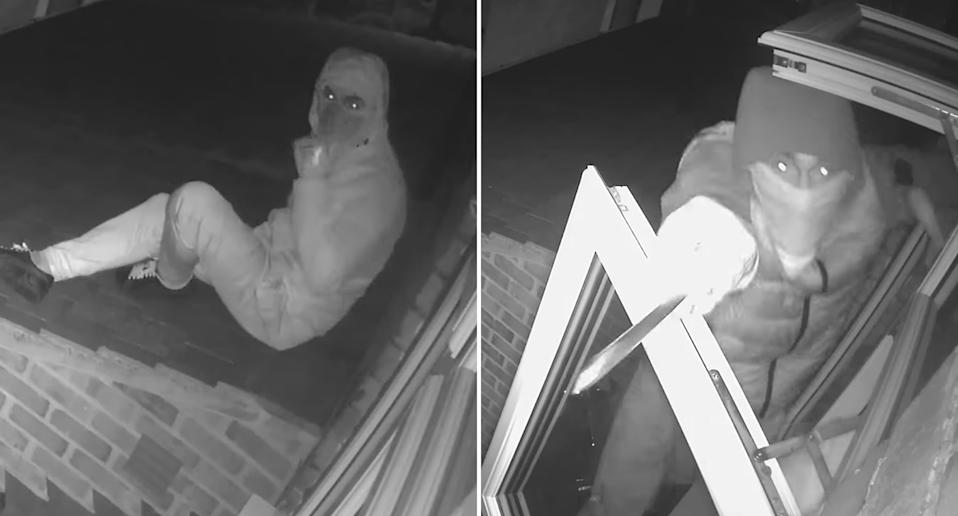 CCTV vision of three men breaking into a family home through a 4-year-old girl's bedroom window.