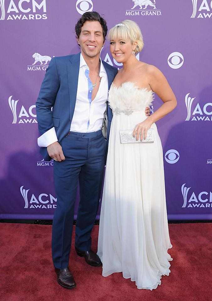 "<p class=""MsoNormal"">Engaged couple Meghan Linsey and Joshua Scott Jones, who make up the band Steel Magnolia, appeared on the TV show ""Can You Duet"" a few years back and proved that yes, they sure can! The two have since released multiple hits and are up for Vocal Duo of the Year. They've been nominated the past two years, so will the third time be the charm? </p>"