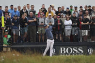 United States' Justin Thomas plays his tee shot off the 3rd during the first round British Open Golf Championship at Royal St George's golf course Sandwich, England, Thursday, July 15, 2021. (AP Photo/Ian Walton)