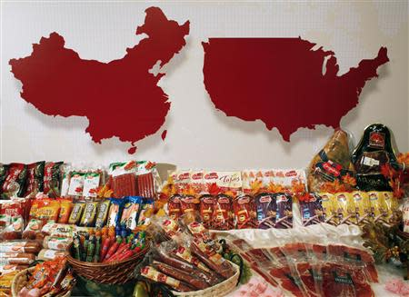 File photo of some of the products of WH Group displayed at a news conference on the company's IPO in Hong Kong