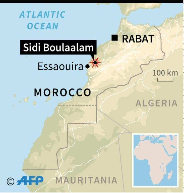 Map locating Sidi Boulaalam and Essaouira in Morocco, where many people died in a crush as food aid was being distributed