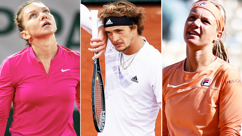 Simona Halep, Alexander Zverev and Kiki Bertens, pictured here in action at the French Open.