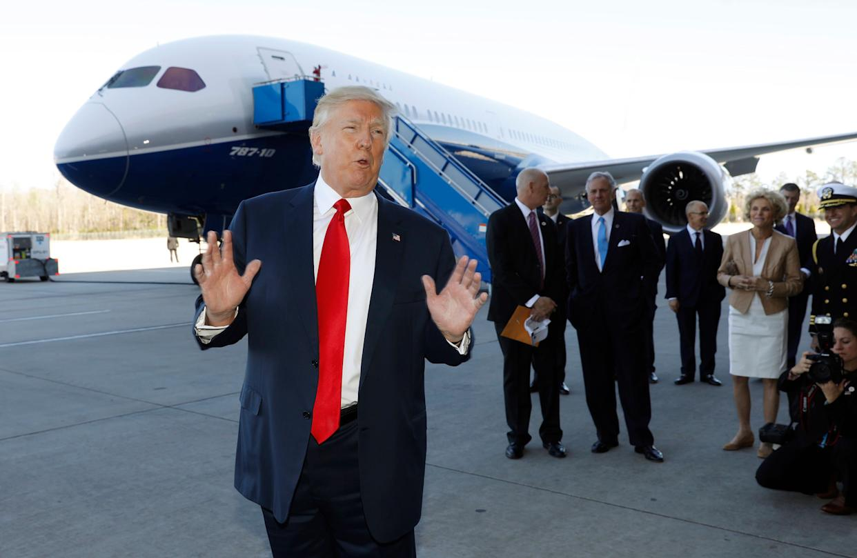 President Donald Trump speaks after touring a Boeing 787-10 Dreamliner in North Charleston, South Carolina, Feb. 17, 2017. (Photo: Kevin Lamarque / Reuters)