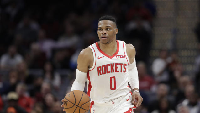 """Though it looked like they were down and out early on, <a class=""""link rapid-noclick-resp"""" href=""""/nba/players/4390/"""" data-ylk=""""slk:Russell Westbrook"""">Russell Westbrook</a> and the <a class=""""link rapid-noclick-resp"""" href=""""/nba/teams/houston/"""" data-ylk=""""slk:Rockets"""">Rockets</a> picked up a five-point win against the <a class=""""link rapid-noclick-resp"""" href=""""/nba/teams/la-clippers/"""" data-ylk=""""slk:Clippers"""">Clippers</a> on Thursday night. (AP/Tony Dejak)"""