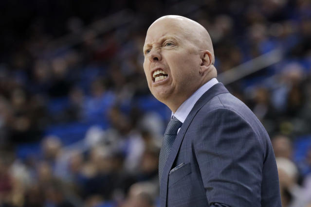 UCLA coach Mick Cronin reacts during the first half the team's NCAA college basketball game against Stanford in Los Angeles, Wednesday, Jan. 15, 2020. (AP Photo/Chris Carlson)