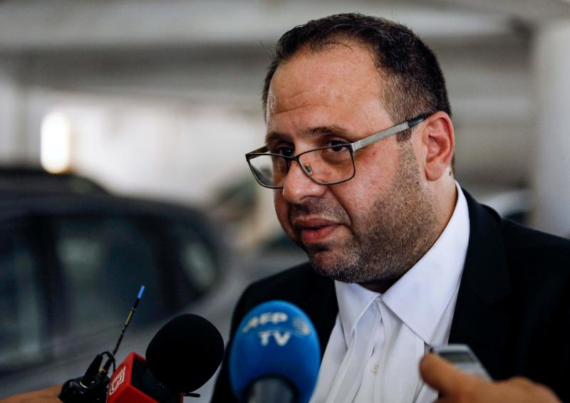 Andreas Pittadjis, Cypriot lawyer for a British teenager who accused seven Israelis of gang rape, speaks to the press at the Famagusta District Court in Paralimni in eastern Cyprus on July 30, 2019. - Initially, the 19-year-old woman had alleged that 12 Israelis gang raped her at the hotel where she was staying in the popular Ayia Napa resort on July 17. The young Israeli tourists were remanded in custody the next day. But hours before their second appearance in court five of them were released and sent home late the next day. (Photo by Matthieu CLAVEL / AFP) (Photo credit should read MATTHIEU CLAVEL/AFP/Getty Images)
