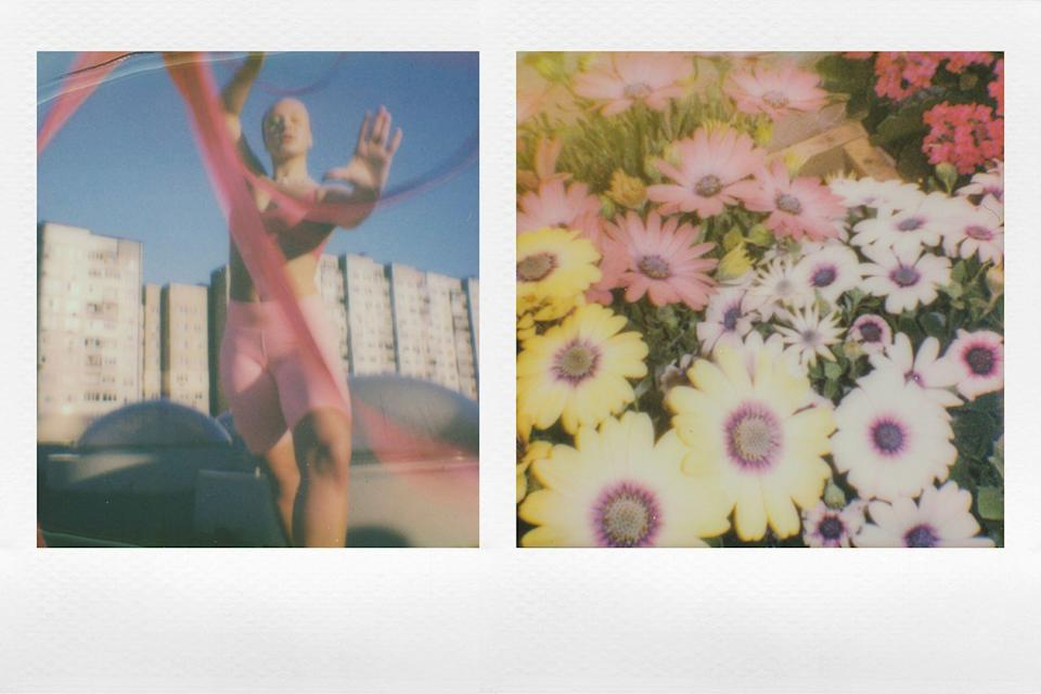Left: Quinn Whitney Wilson holding pink ribbon; right: yellow, white, and pink flowers