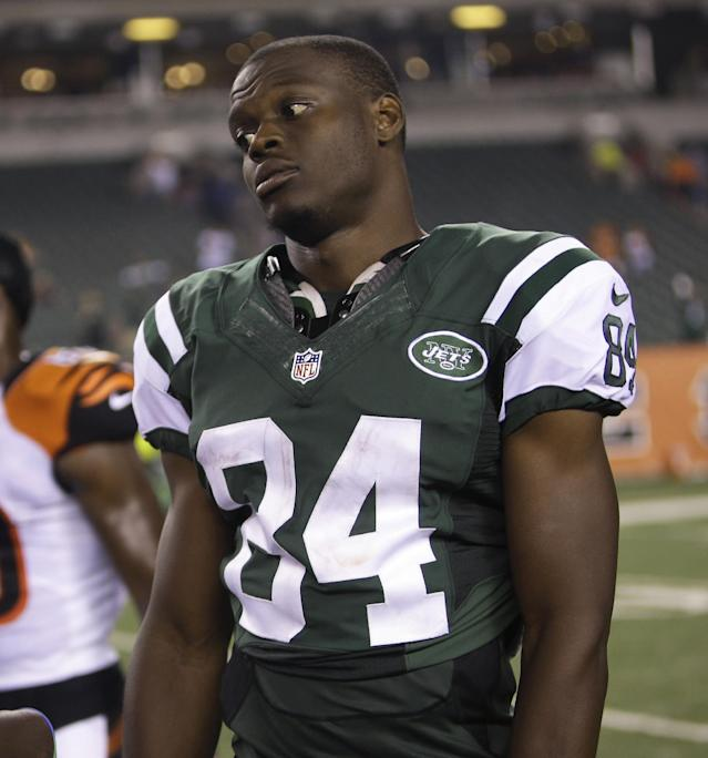 FILE - In this Aug. 16, 2014, file photo, New York Jets wide receiver Stephen Hill (84) is shown after an NFL preseason football game in Cincinnati. The New York Jets have waived wide receiver Stephen Hill, parting ways with the 2012 second-round draft pick after two seasons marked by injuries and inconsistent play. Hill was among the Jets' final cuts Saturday as teams got down to the mandatory 53-player limit. (AP Photo/Tony Tribble, File)